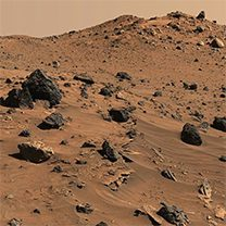 Terrain of the terrestrial planet Mars