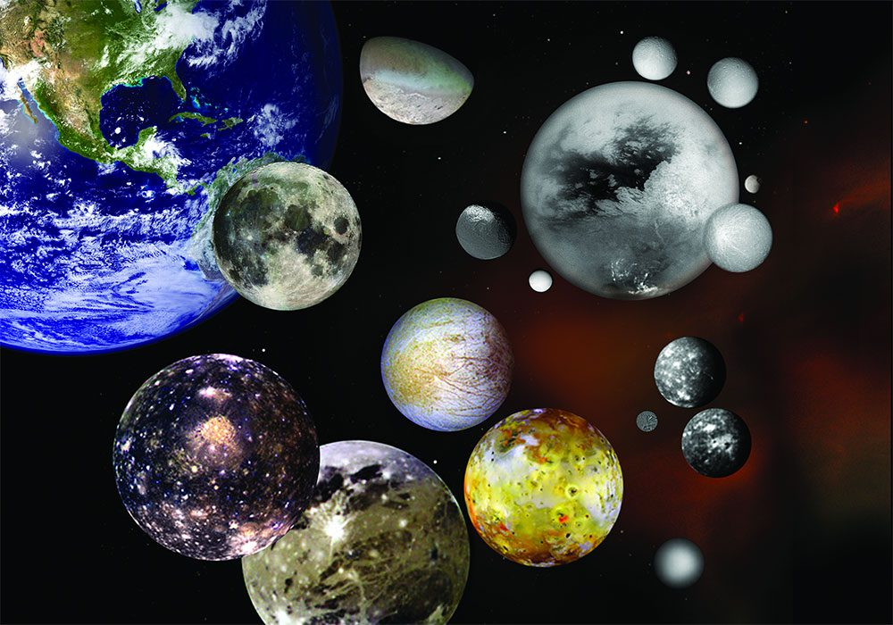 Photo illustration of selected moons in our solar system at relative sizes - NASA